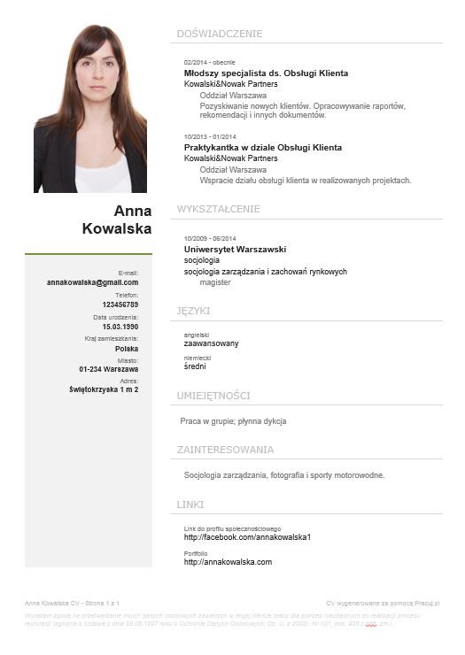CV stworzone przy pomocy Kreatora CV Pracuj.pl